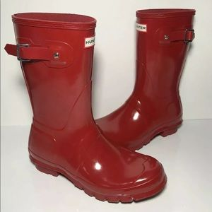 Red Hunter Boots, size 7